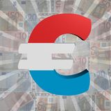 Euro symbol with Luxembourg flag on Euro currency illustration. Euro symbol with Luxembourg flag on Euro currency abstract background illustration Royalty Free Stock Photography