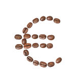 Euro symbol made of coffee beans Royalty Free Stock Image