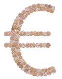 Euro symbol made of coins Stock Images