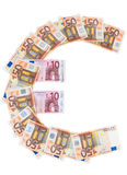 Euro symbol made of euro banknotes Royalty Free Stock Images