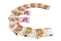 Euro symbol made of euro banknotes Stock Photo