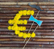 Euro symbol made of flowers Royalty Free Stock Photo