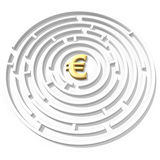 Euro symbol maze Royalty Free Stock Images