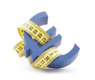 Euro symbol with measuring tape Stock Photos