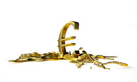 Euro symbol melts into liquid gold. path included Stock Photo
