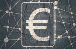 Euro Symbol on Molecule And Communication Background. Royalty Free Stock Images