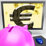 Euro Symbol On Monitor Showing European Wealth Stock Photo