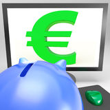 Euro Symbol On Monitor Shows European Fortune Stock Images