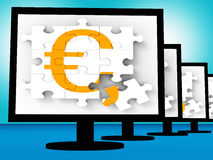 Euro Symbol On Monitors Showing Europe Profits Royalty Free Stock Image