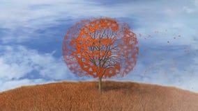 Euro symbol na drzewie, spada opuszcza royalty ilustracja