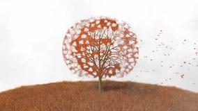 Euro symbol na drzewie, spada opuszcza ilustracji