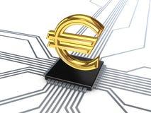 Euro symbol na procesorze. Fotografia Stock
