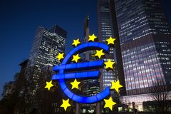 Euro symbol at night frankfurt germany Royalty Free Stock Images