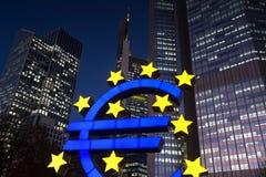 Euro symbol at night frankfurt germany Stock Photos