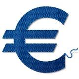 Euro symbol odizolowywający na białym tle trykotowa tkanina royalty ilustracja