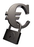 Euro symbol and padlock. 3d illustration Stock Image
