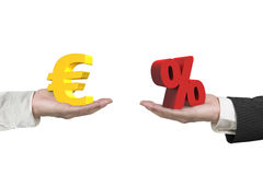 Euro symbol and percentage sign with two hands Royalty Free Stock Image