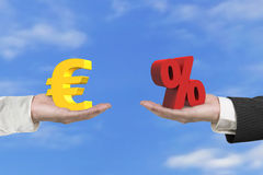 Euro symbol and percentage sign with two hands Royalty Free Stock Photos