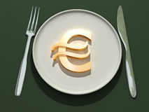 Euro symbol on plate Royalty Free Stock Photos