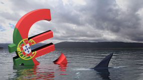 Economic crisis of Portugal. Euro symbol with Portugal flag sinking in the water Stock Image