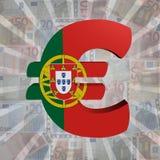 Euro symbol with Portuguese flag on Euro currency illustration. Euro symbol with Portuguese flag on Euro currency 3d illustration Royalty Free Stock Photography