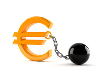 Euro symbol with prison ball. Isolated on white background Royalty Free Stock Photography