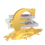 Euro symbol in a puddle. The euro sign in a golden puddle in the background banknotes Royalty Free Stock Images