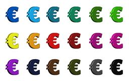 Euro symbol - różnorodni kolory Zdjęcia Stock