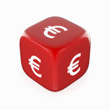 Euro Symbol on Red Dice. White euro currency sign on red dice. Rendered royalty free illustration