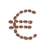 Euro symbol robić kawowe fasole obraz royalty free
