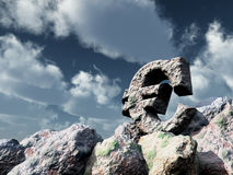 Euro symbol rock under cloudy sky. 3d illustration Royalty Free Stock Images
