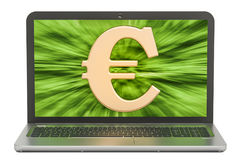 Euro symbol on the screen of laptop, make money concept. Euro symbol on the screen of laptop, make money concept Royalty Free Stock Images