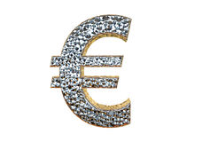 Euro Symbol in silver coating 3d rendering isolated on a white  Stock Image