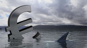 Euro sinking in the water Royalty Free Stock Images
