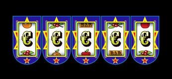 Euro symbol slot machine stock illustration