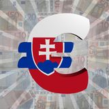 Euro symbol with Slovakian flag on Euro currency illustration. Euro symbol with Slovakian flag on Euro currency abstract background illustration Royalty Free Stock Images
