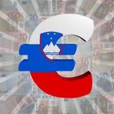 Euro symbol with Slovenian flag on Euro currency illustration. Euro symbol with Slovenian flag on Euro currency 3d illustration Stock Photos