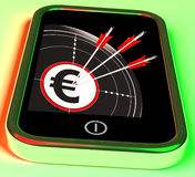 Euro Symbol On Smartphone Showing European Profits Royalty Free Stock Images