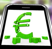 Euro Symbol On Smartphone Shows European Money Stock Image