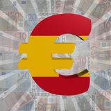 Euro symbol with Spanish flag on Euro currency illustration. Euro symbol with Spanish flag on Euro currency 3d illustration Stock Image