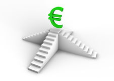 Euro symbol on a staircase Stock Image