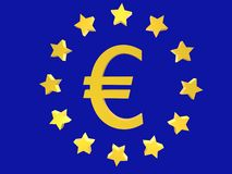 Euro. Symbol with stars on blue background Stock Photography