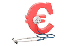Euro symbol and stethoscope, financial aid concept. 3D rendering. Isolated on white background Royalty Free Stock Photography