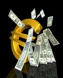 Euro symbol strikes dollar tower Royalty Free Stock Image