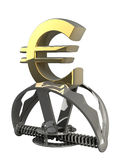 Euro symbol in the trap  Royalty Free Stock Photos