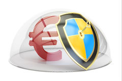 Euro symbol under a glass dome, stability and protection concept. 3D rendering on white background Royalty Free Stock Images