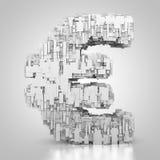Euro symbole avec la texture de technologie Photographie stock