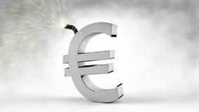 Euro symbole avec le fusible explosif devant le fond et la fumée blancs illustration stock