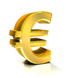 euro symbole 3d d'or Images stock