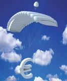 euro symbole de ciel d'argent Images stock